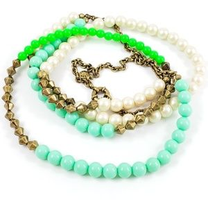 J. Crew Sweater Necklace Pale Green Bright Green